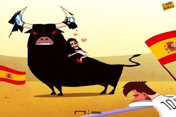 کاری که اسپانیا با آرژانتین در بازی دوستانه کرد به روایت کاریکاتور!